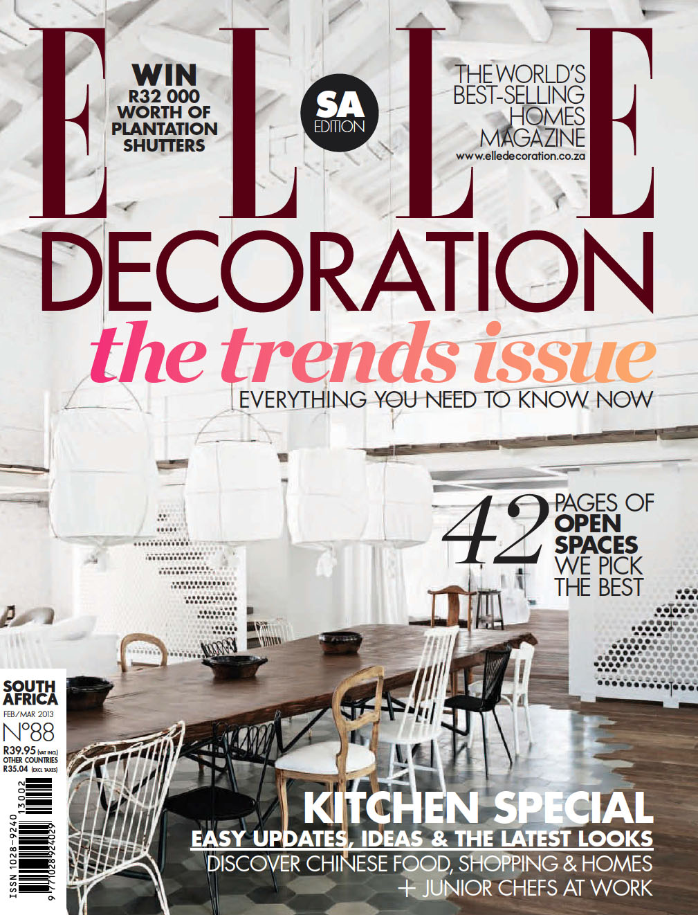 elle decoration south africa february march 2013. Black Bedroom Furniture Sets. Home Design Ideas