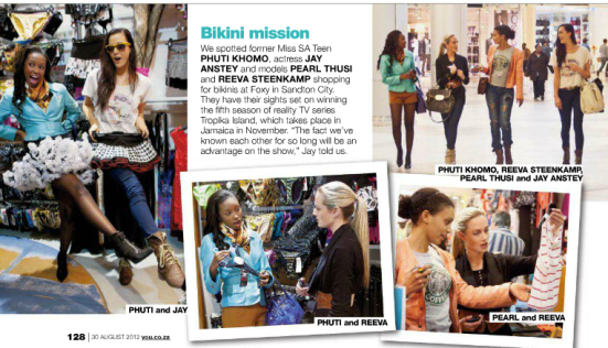 Preparing for Tropika Island of Treasure (see above), YOU featured a shopping spree, including Reeva, in their 30 August 2012 issue.