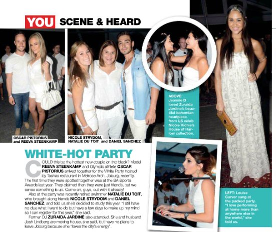 In just last weeks issue of YOU (7 February 2013), Reeva Steenkamp and Oscar Pistorius appeared on the social pages, after attending a party together.