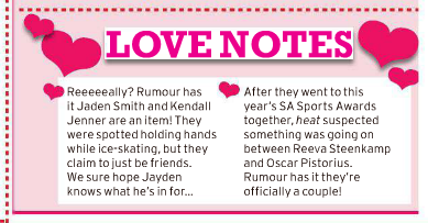 In the 13 December 2012 issue of Heat, they rumoured that Oscar and Reeva might be dating...