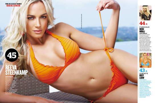 Reeva made the list of Hottest Babes, and came in at number 42 in the FHM July 2012 issue.