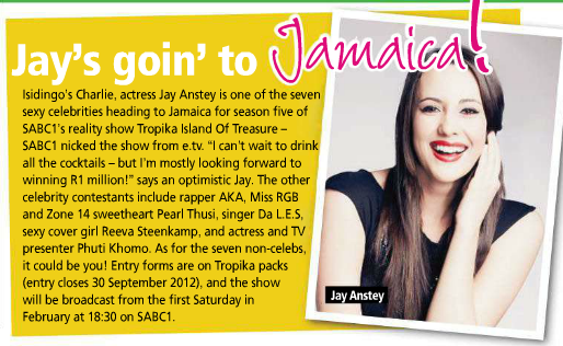 TV Plus also had a small snippet announcing that Reeva Steenkamp will be one of the Tropika Island of Treasures contestants.