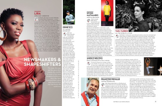 "One of the spreads from the ""Newsmakers and Shapeshifters"" category"
