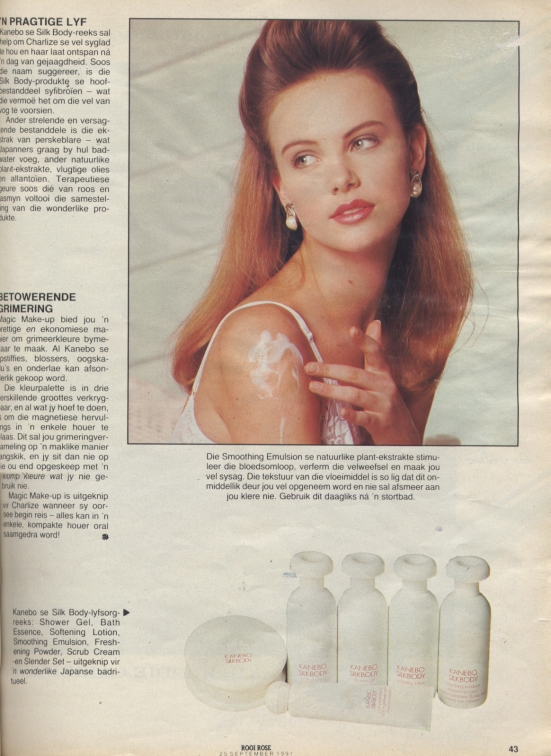 September 1991_03 Charlize Theron rooi rose