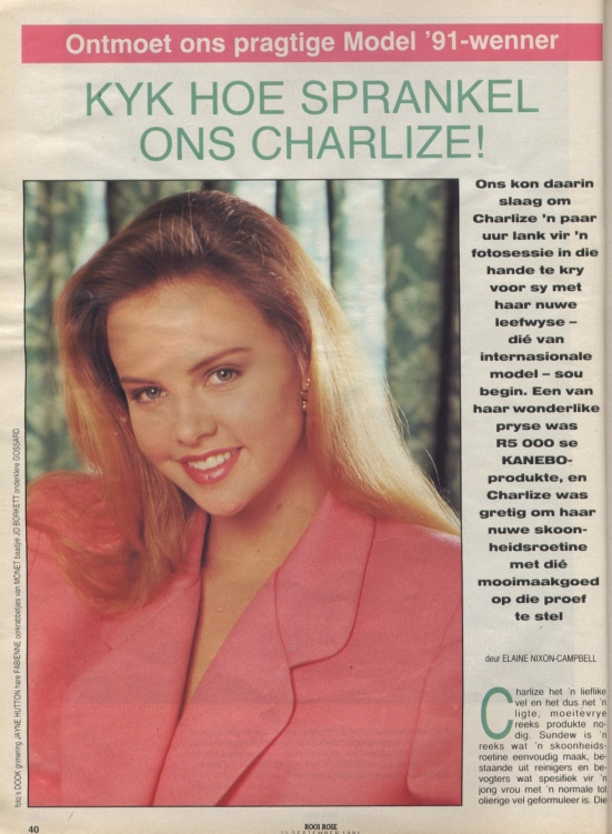 September 1991_06 Charlize Theron rooi rose